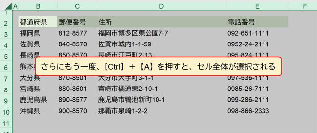 さらにもう一度、【Ctrl】+【A】を押すと、セル全体が選択される