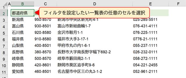 フィルタを設定したい一覧表の任意のセルを選択