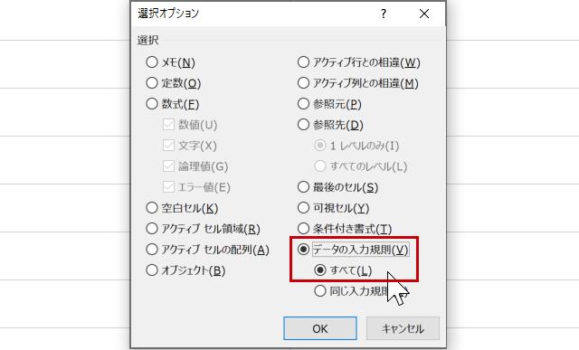 選択オプション(データの入力規則)