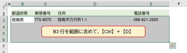 B3行を範囲に含めて、【Ctrl】+【D】