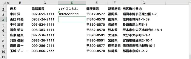 D3セルに電話番号入力