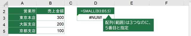 SMALL関数の引数の間違い