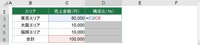 D3セルに[=C3/C6]と入力