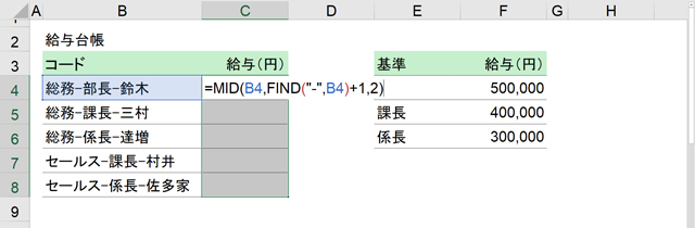 C4にMID関数とFIND関数