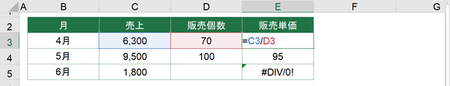 #DIV/0!の例