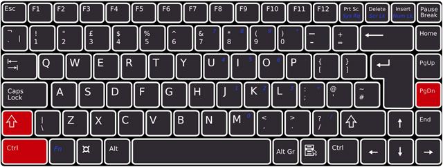 キーボードで[Shift]+[Ctrl]+[PageDown]を押下