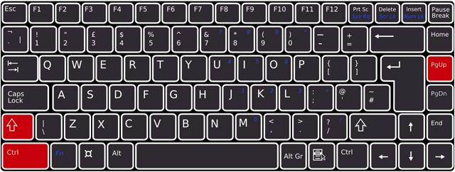 キーボードで[Shift]+[Ctrl]+[PageUp]を押下