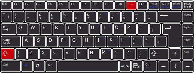 キーボードで[Shift]+[F11]を押下