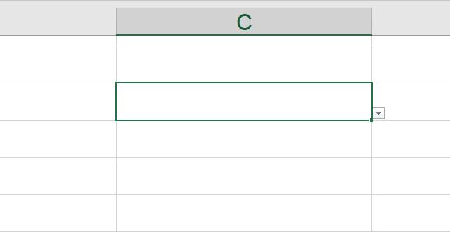プルダウンメニューを設定しているセルを選択
