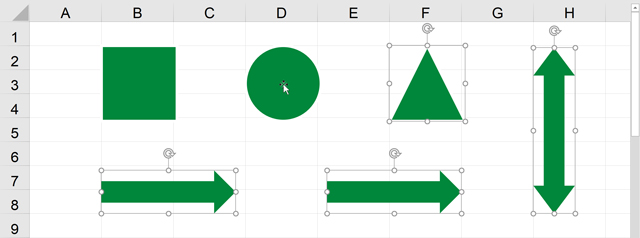 正方形と正円が選択解除された