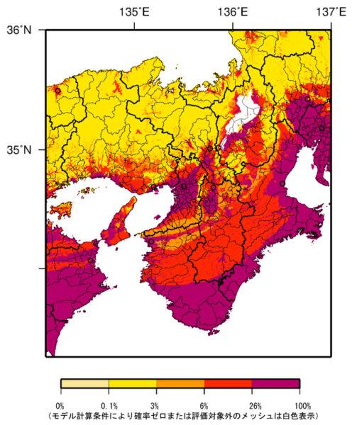 近畿地方の今後30年間に震度6弱以上の揺れに見舞われる確率