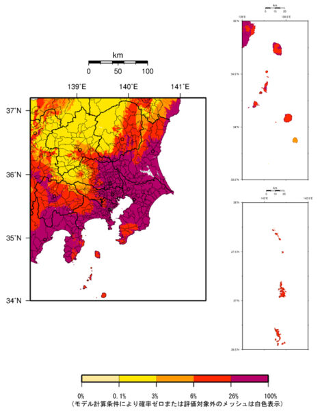 関東地方の今後30年間に震度6弱以上の揺れに見舞われる確率