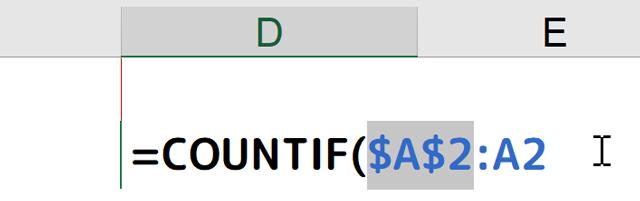 [=COUNTIF($A$2:A2]となる