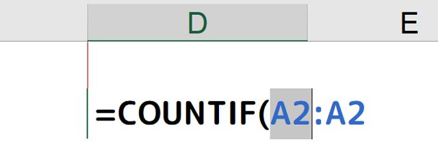[=COUNTIF(A2:A2]の[A2]の部分を選択