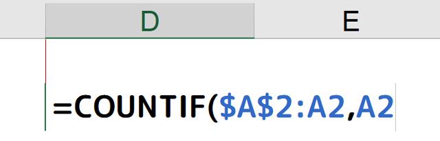 [=COUNTIF($A$2:A2,A2]