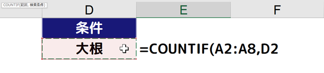 [=COUNTIF(A2:A8,D2]