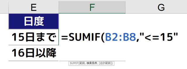 [=SUMIF(B2:B8,15以下]と入力する