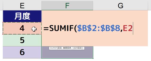 [=SUMIF($B$2:$B$8,E2]と入力される
