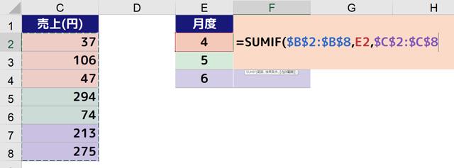 [=SUMIF($B$2:$B$8,E2,$C$2:$C$8]となります