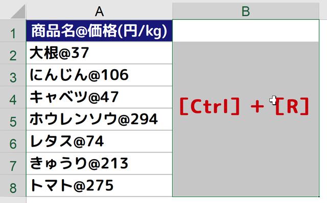 A列のデータをB列にコピーする[Ctrl]+[R]