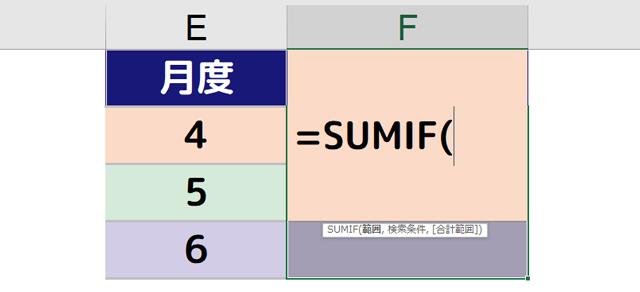 F2セルに[=SUMIF(]と入力される