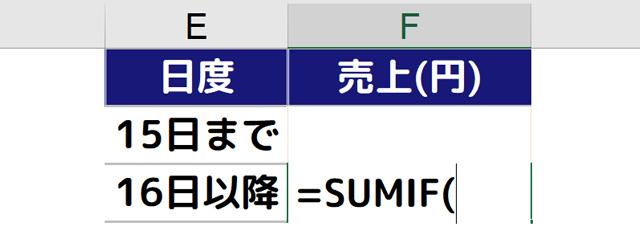 F3セルに[=SUMIF(]と入力される