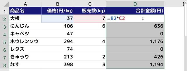 IF関数を入力するD2セルが編集モードに