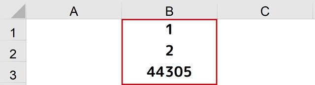 B1~B3セルにシリアル値