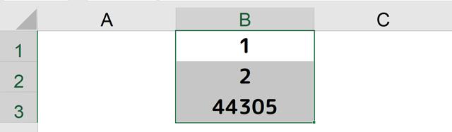 B1~B3セルを選択