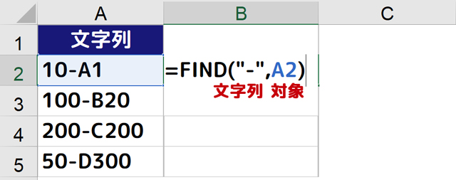 B2セルにFIND関数
