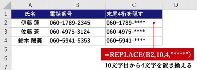 REPLACE関数の例(置換)