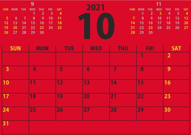 【シンプル】カレンダー2021年10月(情熱を感じる赤)