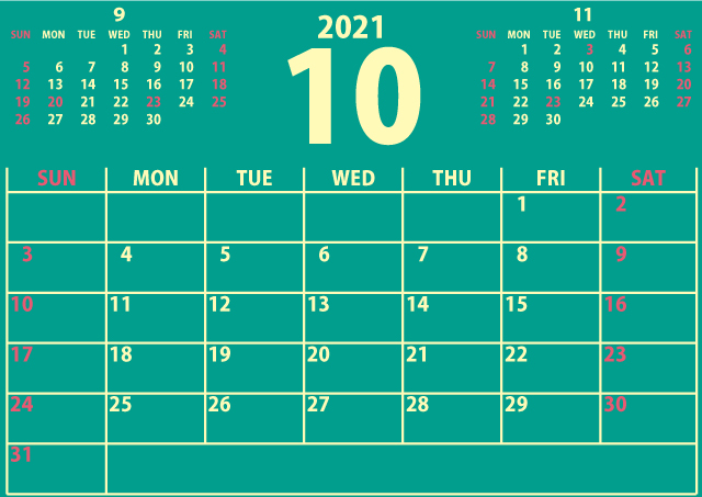 【シンプル】カレンダー2021年10月(新鮮さのあるヘルシーな緑)