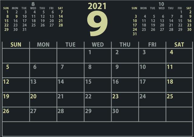 【シンプル】カレンダー2021年9月(640×452)[迫力のある黒]