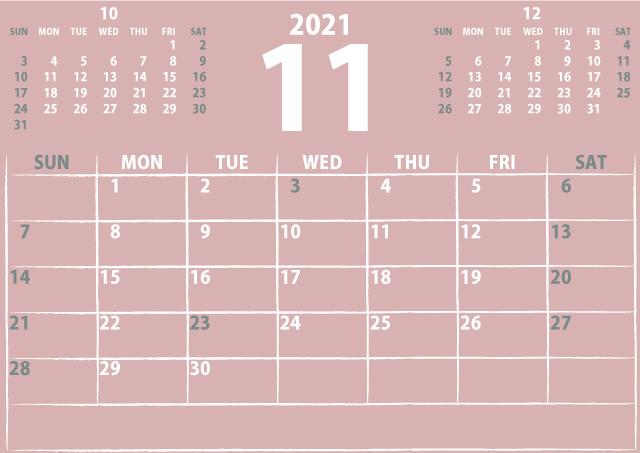 シンプルカレンダー2021年11月(ヌーディーなピンク)3