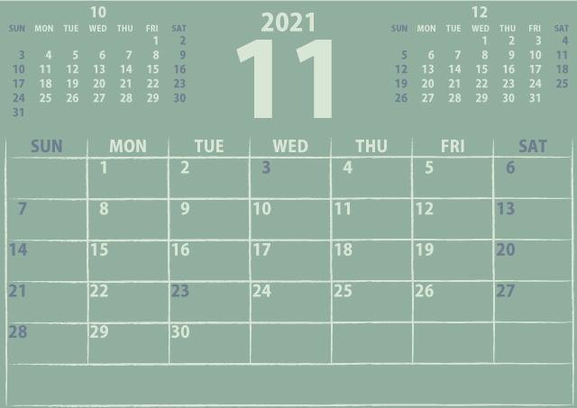 シンプルカレンダー2021年11月(優しいクリーミーな黄色)3