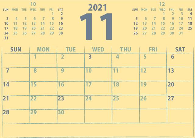 シンプルカレンダー2021年11月(優しいクリーミーな黄色)