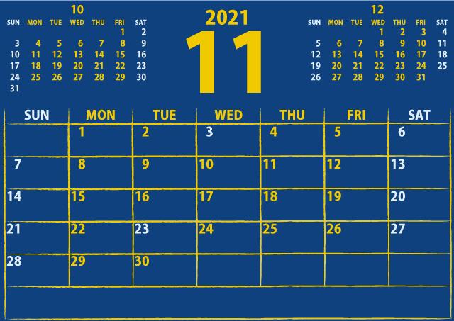 シンプルカレンダー2021年11月(注目を引く黄色)2