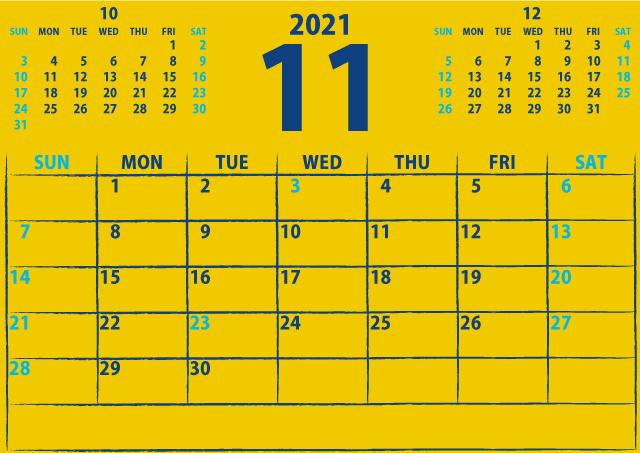 シンプルカレンダー2021年11月(注目を引く黄色)