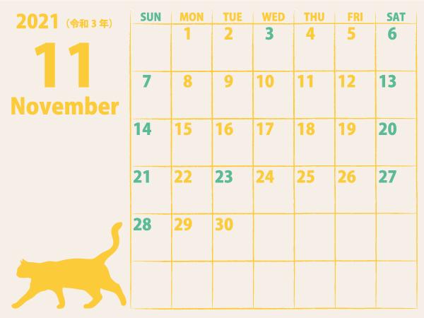 猫のカレンダー21年11月|黄B(600px)