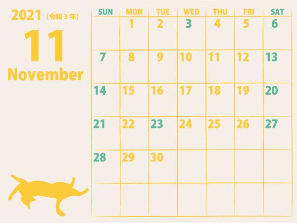 猫のカレンダー21年11月|黄D(600px)