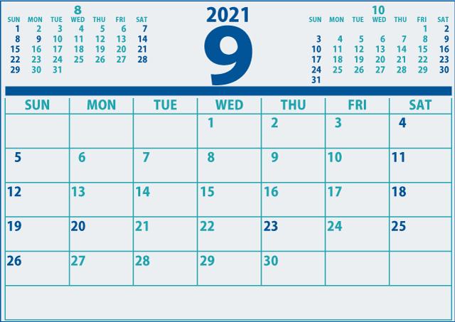 2021年9月カレンダーA4(640×453)[信頼感のある青]3