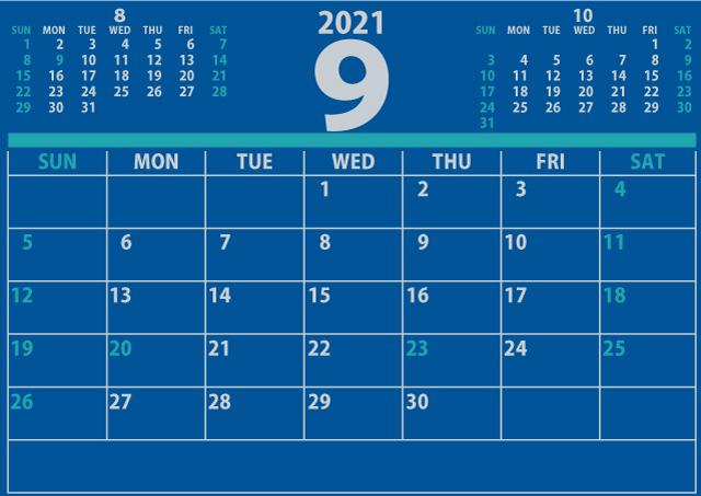 2021年9月カレンダーA4(640×453)[信頼感のある青]4