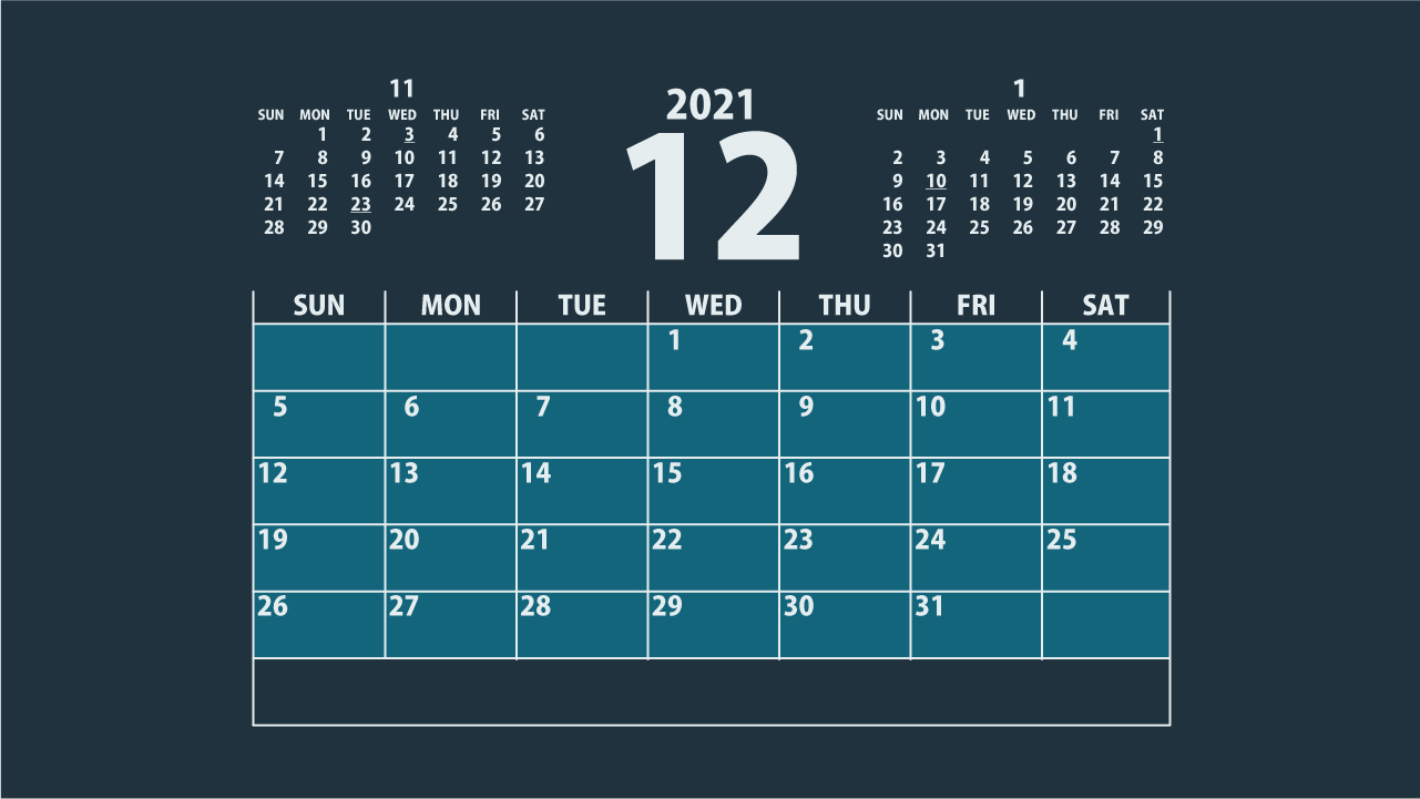 シンプルカレンダー2021年12月アイキャッチ