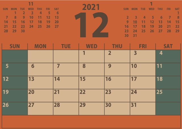 シンプルカレンダー2021年12月(シックにまとめる秋色オレンジ)