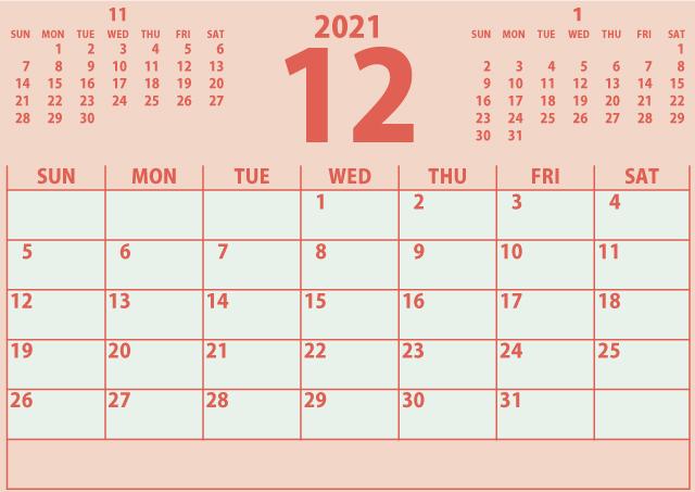 シンプルカレンダー2021年12月(ナチュラルで優しい赤色)