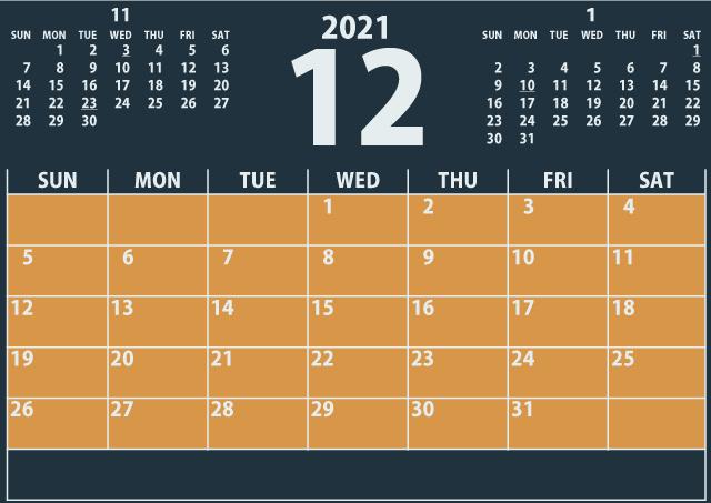 シンプルカレンダー2021年12月(洗練された黒)2
