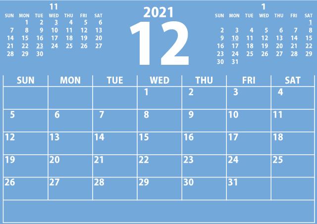 シンプルカレンダー2021年12月(目の覚める青)