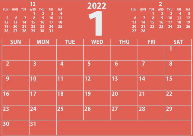シンプルカレンダー2022年1月(やさしい赤色)