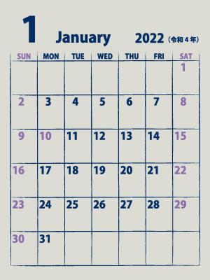 シンプルカレンダー22年1月縦 紫